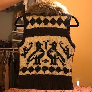 Knitted Wool-backed, Herringbone Vest faux fur